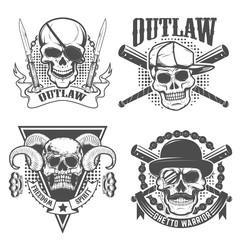 Set of gangster emblems. Skull with two crossed knives on grunge background. Design element for t-short print. Vector illustration
