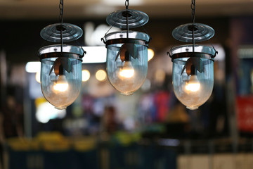 Vintage lamps in a restaurant.