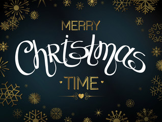 Merry Christmas lettering design with snowflakes. Text for holiday design. Vector illustration EPS 10