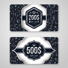 Set of Gift Cards with Black Sequins Texture