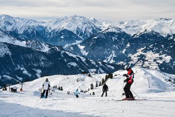 Mountain ski slope in Alps