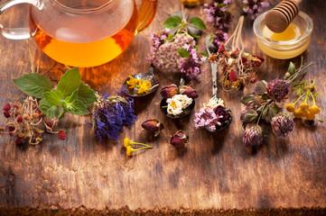 herbal medicine concept. Herbs and herbal tea
