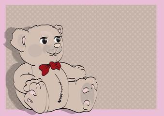 Niedlicher Teddybär Mit Rosa Rahmen