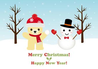 テディベアと雪だるまのクリスマスカード