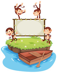 Frame template with monkeys on island