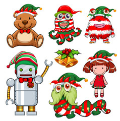 Christmas theme with toys in party hat