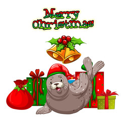 Christmas theme with seal and presents