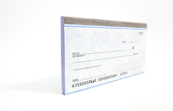 Perspective view of blank checks. Horizontal.