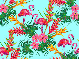 Summer jungle pattern with with flamingo, palm leaves and flowers vector background. Floral background. Perfect for wallpapers, pattern fills, web page backgrounds, surface textures, textile