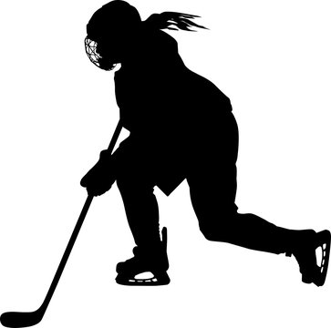 Female hockey player skating with stick