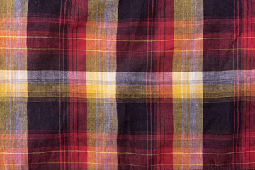 Textile background crumpled checkered