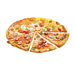 Watercolor Pizza pieces isolated on white background.