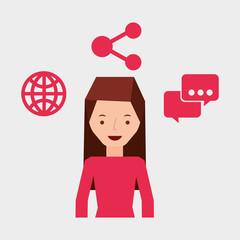 girl user laptop share bubble speak world vector illustration eps 10