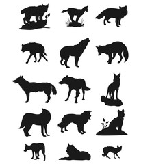 Wolves Vector Silhouette Sets