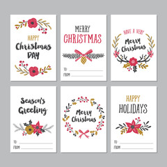Christmas greeting printable cards with cute floral design elements.