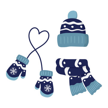 winter knitted mittens, hat and scar, set in blue color