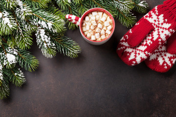 Christmas background with fir tree and hot chocolate