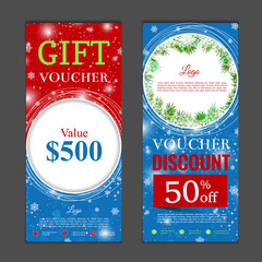 Gift voucher template. Can be use for shopping cards, discount coupon, banner, discount card , web design and other. Vector illustration. Happy New Year and Merry Christmas design