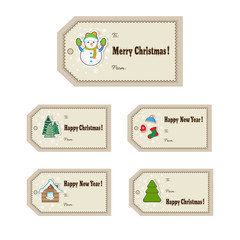 Christmas gift tags set. Cute Christmas labels. Vector illustration
