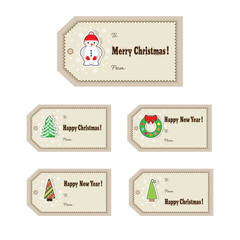 Set of Christmas Tags. Template for greeting, congratulations, invitations design