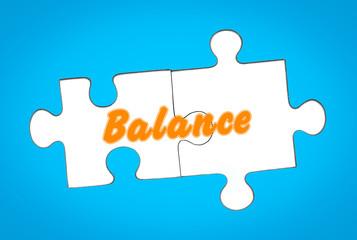 Balance auf Puzzleteile