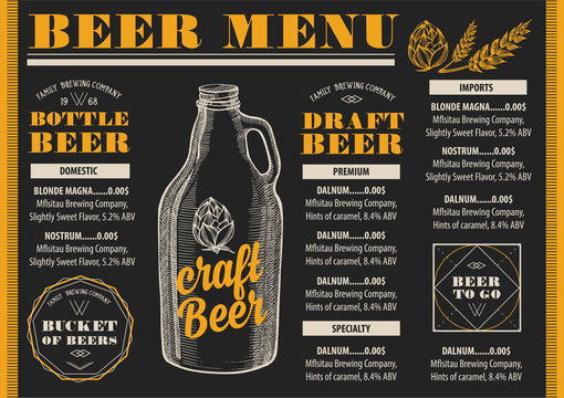 Menu beer restaurant, alcohol template placemat.