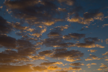 Sky with gold clouds
