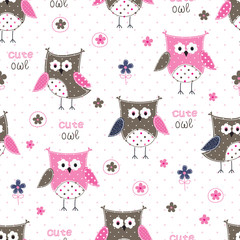 Seamless pattern with cute owls and floral elements
