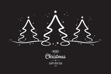 white christmas trees stars black background