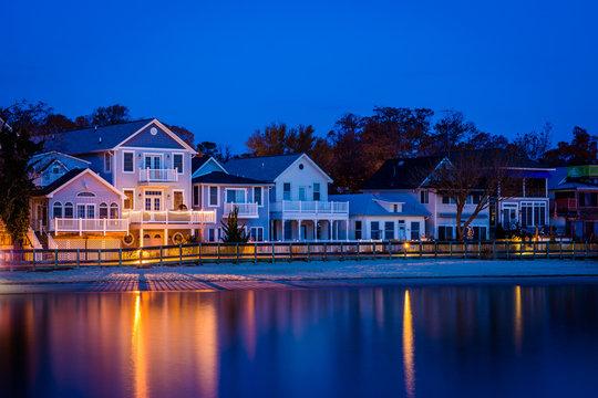 Beachfront houses at night, in North Beach, Maryland.