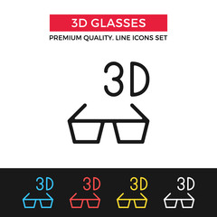 Vector 3D cinema icon. Thin line icon