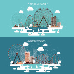Vector illustration. Winter urban landscape. City with snow. Christmas and new year. Cityscape. Buildings.Ferris wheel,park.