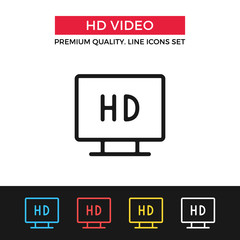 Vector HD video icon. Thin line icon