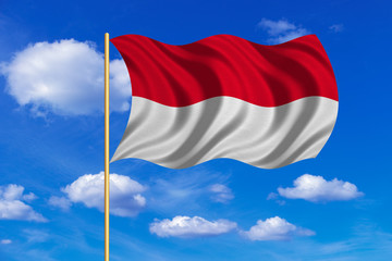 Flag of Indonesia, Monaco, Hesse on flagpole wavy