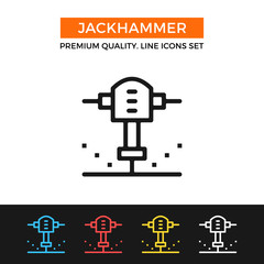 Vector jackhammer icon. Thin line icon