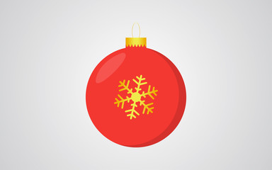 Red christmas ball retro color blue background with golden snowflake decoration