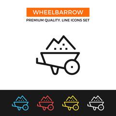 Vector wheelbarrow icon. Thin line icon