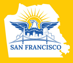 San Francisco map color.  Welcome to USA. San Francisco City. California