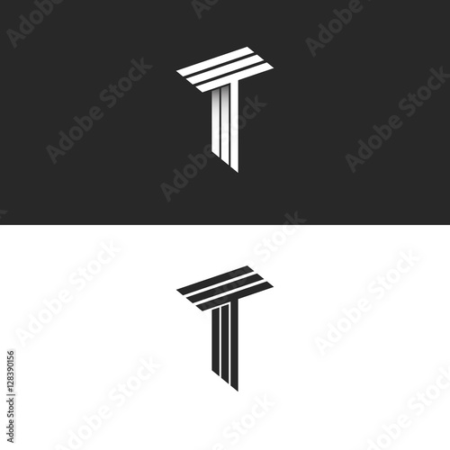 """Monogram letter T logo black and white isometric initials ..."