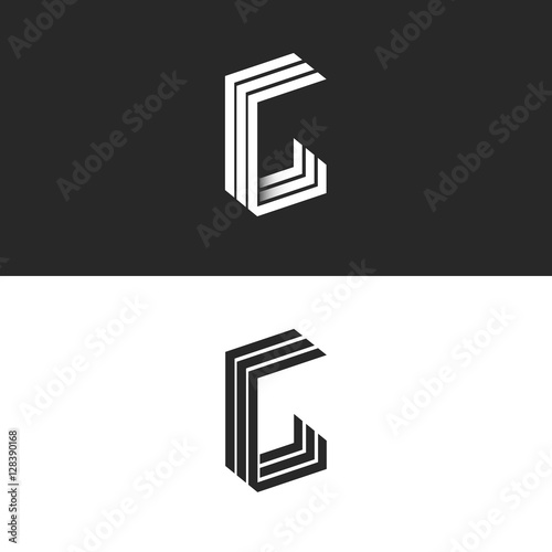 Monogram Letter T Logo Black And White Isometric Initials Together