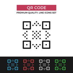 Vector QR code icon. Thin line icon