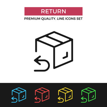 Vector return shipping icon. Thin line icon