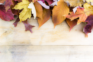 Autumn fall leaves on rustic wooden table as sale email backgrou