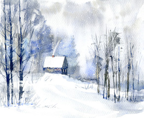 Landscape with village in winter.Cloudy weather and snowfall.Watercolor hand drawn illustration.
