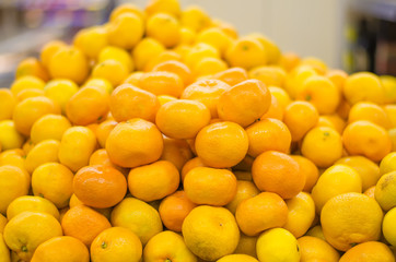 bunch of tangerines in a supermarket