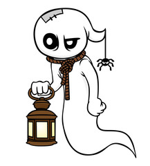 cartoon ghost character with a lantern on a white background