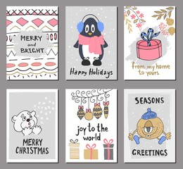 Merry Christmas greeting card set with cute penguin, bear, gift, balls and other elements. Cute Hand drawn holiday cards and invitations.