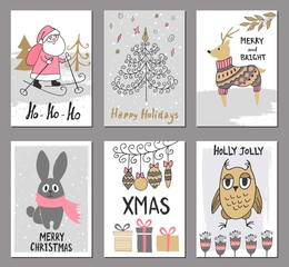 Merry Christmas greeting card set with cute santa, tree, deer, rabbit, owl and other elements. Cute Hand drawn holiday cards and invitations.
