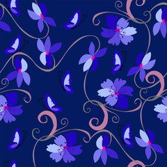Cute seamless pattern with flowers and butterflies in blue tones. Template for pillowcase, cushion, bedding, carpet. Print for fabric.