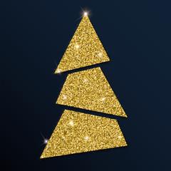 Golden glitter charming christmas tree. Luxurious christmas design element, vector illustration.